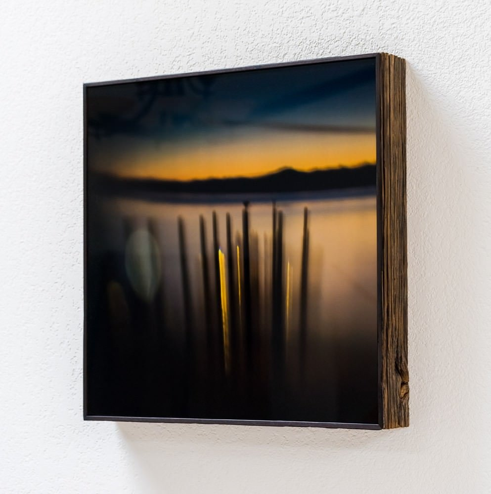 abstract landscape acrylic print in a reclaimed weathered wood artbox picture frame inner lights framed 1