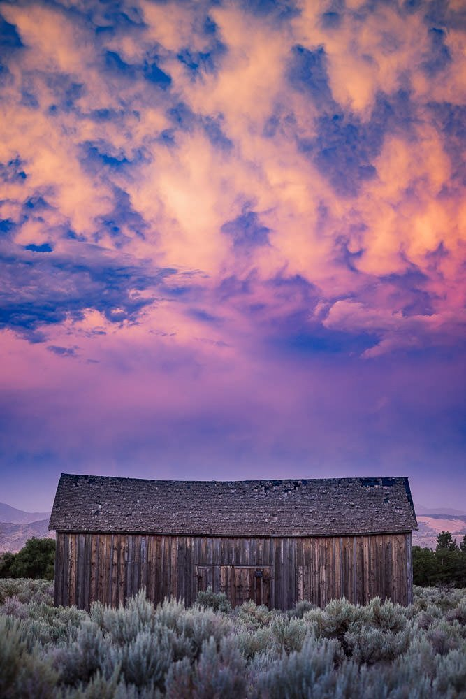 Purple Sky Over Barn